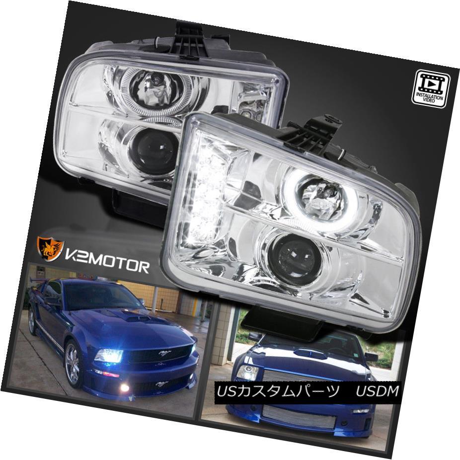 ヘッドライト 2005-2009 Ford Mustang LED DRL Halo Projector Headlights Chrome 2005-2009フォードマスタングLED DRLハロープロジェクターヘッドライトクローム