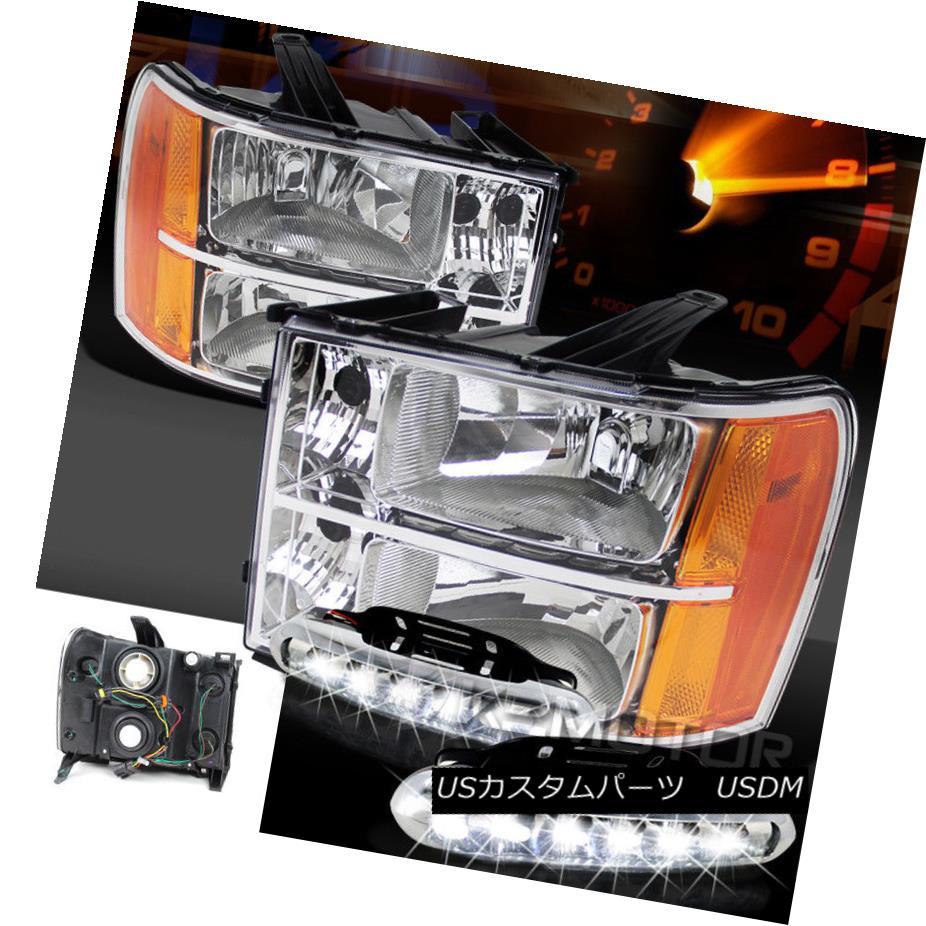 ヘッドライト 07-13 GMC Sierra 1500 2500HD 3500HD Chrome Clear Headlights+LED DRL Fog Lamps 07-13 GMC Sierra 1500 2500HD 3500HDクロームクリアヘッドライト+ LED DRLフォグランプ