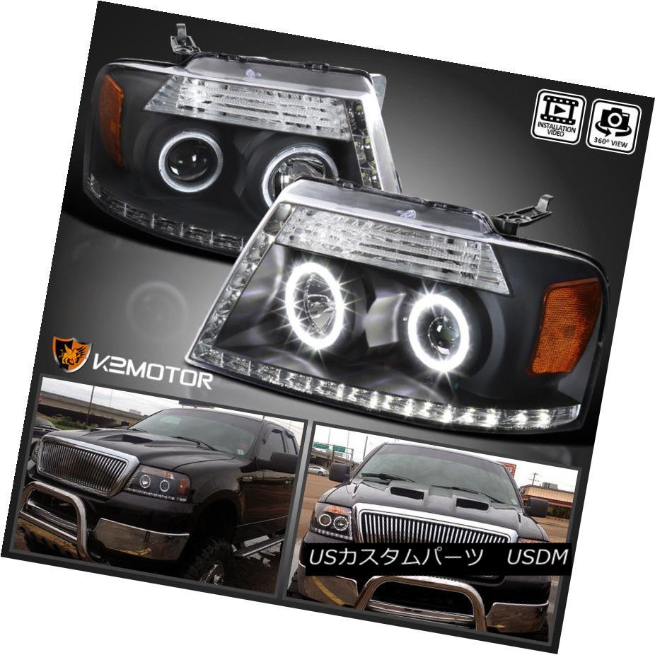 ヘッドライト 04-08 Ford F150 06-08 Lincoln Mark LT Black LED Strip Halo Projector Headlight 04-08 Ford F150 06-08リンカーンマークLTブラックLEDストリップハロープロジェクターヘッドライト