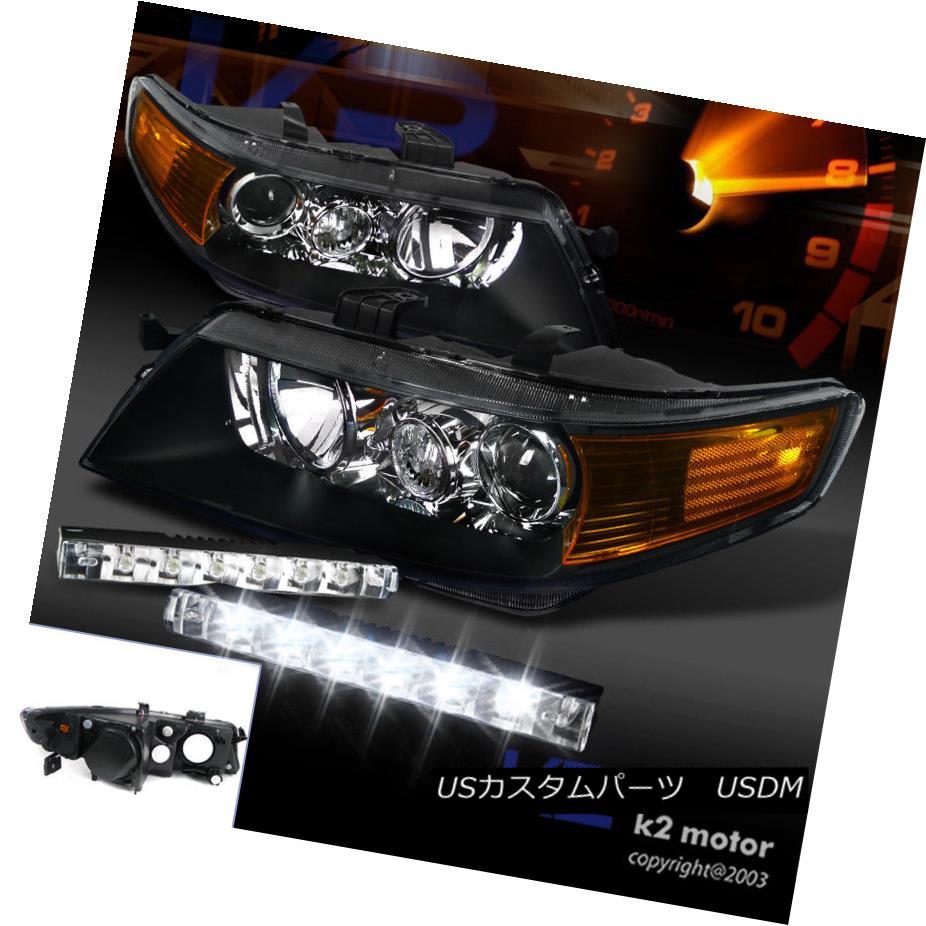 ヘッドライト 04-05 Acura TSX Projector Headlights Black Housing w/ 6-LED DRL Fog Lamp 04-05アキュラTSXプロジェクターヘッドライトブラックハウジング、6-LED DRLフォグランプ