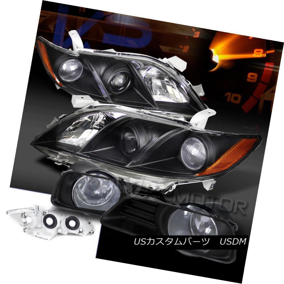 ヘッドライト For 07-09 Toyota Camry Black Amber Projector Headlights+Clear Fog Driving Lamps 07-09トヨタカムリブラックアンバープロジェクターヘッドライト+ Cle  ar Fog Driving Lamps