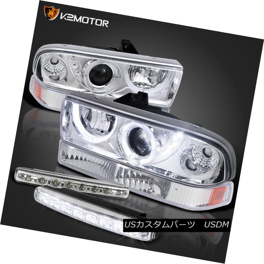 ヘッドライト 98-04 S10/BLAZER LED DUAL HALO PROJECTOR CLEAR HEADLIGHTS+8-SMD DRL BUMPER FOG 98-04 S10 / BLAZER LEDデュアルハロープロジェクタークリアヘッドライト+ 8-S MD DRL BUMPER FOG
