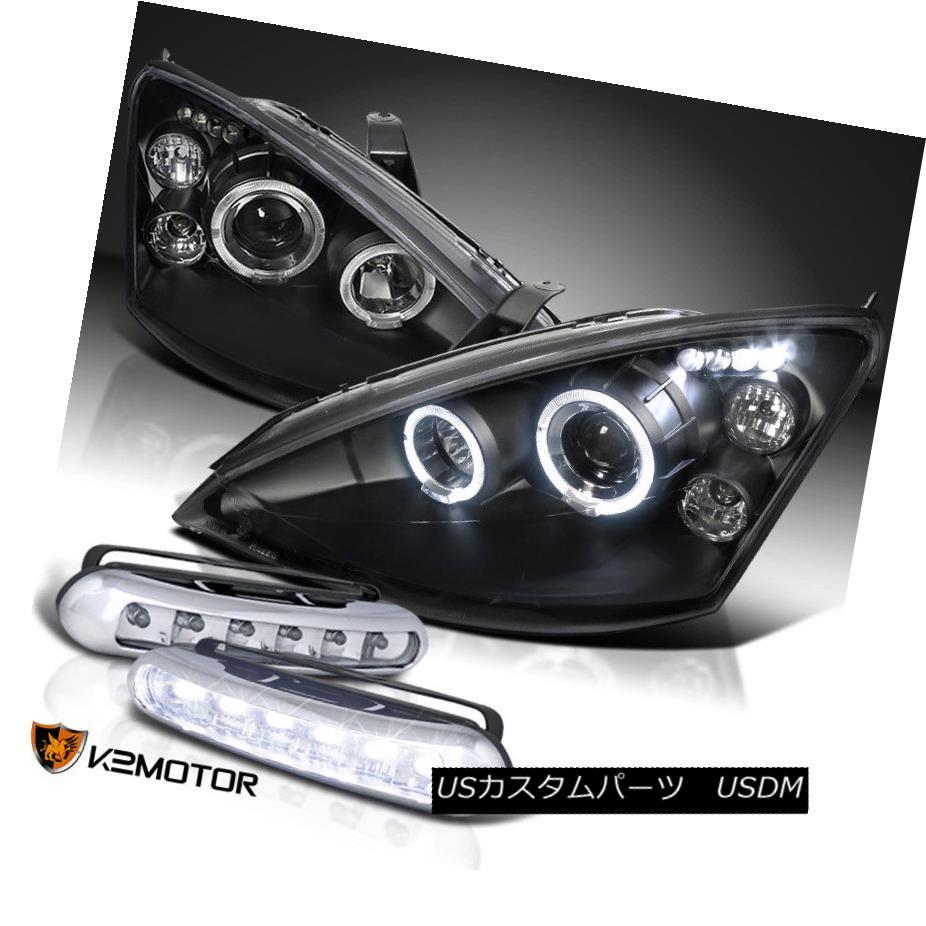 ヘッドライト 00-04 Focus Halo Projector Headlights Black+LED Running Daytime Fog Light 00-04フォーカスハロープロジェクターヘッドライトブラック+ LEDランニングデイタイムフォグライト