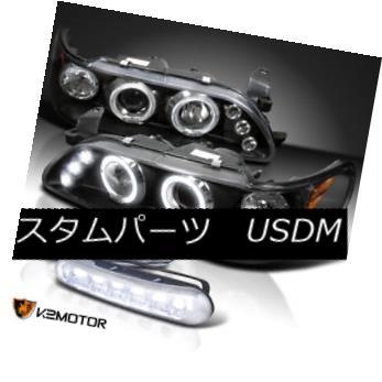 ヘッドライト Fit 93-97 Corolla Halo Projector Headlights Black+DRL Daytime Running LED Fog フィット93-97カローラハロープロジェクターヘッドライトブラック+ DRLデイタイムランニングLEDフォグ