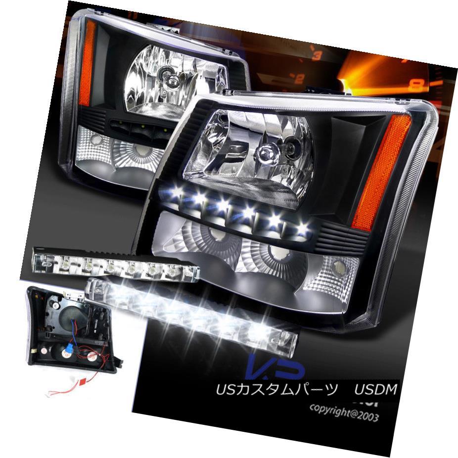 ヘッドライト 03-07 Silverado 1PC Black SMD LED DRL Crystal Headlights+Bumper Lamp+6-LED DRL 03-07シルバラード1PCブラックSMD LED DRLクリスタルヘッドライト+バーン 、ランプ+ 6-LED DRL