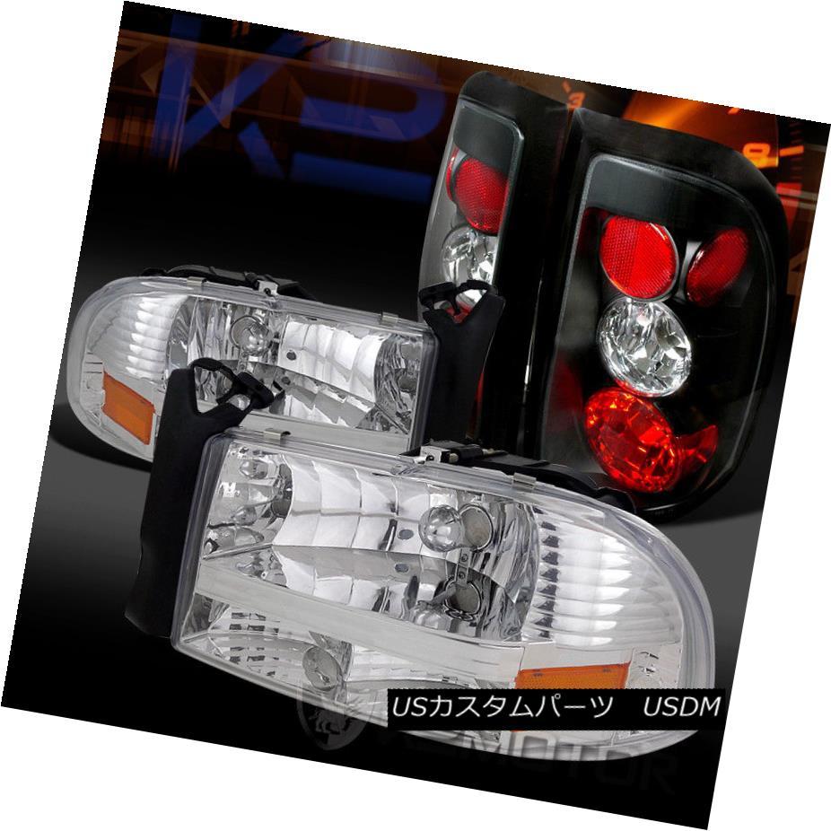 ヘッドライト 97-04 Dodge Dakota Chrome 1PC Style Headlights+Black Tail Brake Lamps 97-04 Dodge Dakota Chrome 1PCスタイルヘッドライト+ Bla  ckテールブレーキランプ