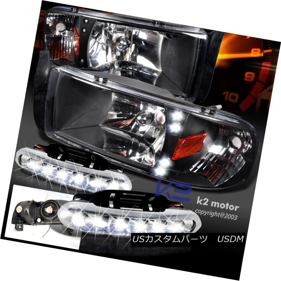 ヘッドライト 94-02 Ram 1500 LED DRL Black Headlights w/ Daytime Running Fog Bumper Lamps 94-02ラム1500 LED DRLブラックヘッドライト(デイタイムランニングフォグバンパーランプ付)