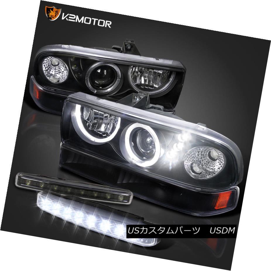 ヘッドライト 98-04 S10 Blazer Black Halo Projector Headlights Bumper Lamps+LED DRL Fog 98-04 S10 Blazerブラックハロープロジェクターヘッドライトバンパーランプ+ LED DRLフォグ