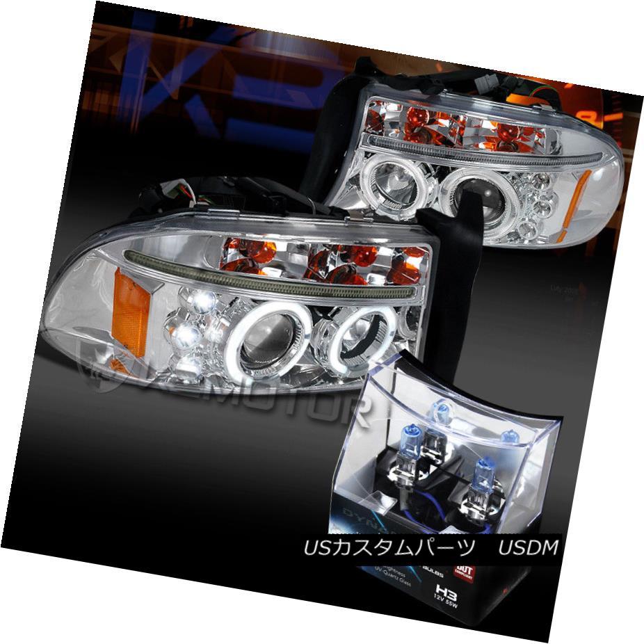 ヘッドライト 97-04 Dodge Dakota/Durango Chrome Halo LED Projector Headlights+H3 Halogen Bulbs 97-04 Dodge Dakota / Durango Chrome Halo LEDプロジェクターヘッドライト+ H3ハロゲン電球