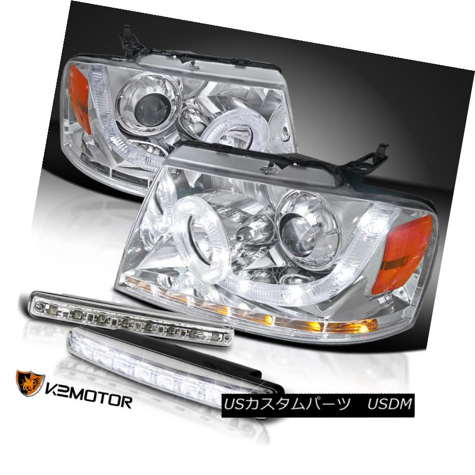 ヘッドライト 04-08 F150 Mark LT Chrome Halo SMD Signal Projector Headlights+LED DRL Fog Lamps 04-08 F150マークLTクロームHalo SMD信号プロジェクターヘッドライト+ LED DRLフォグランプ