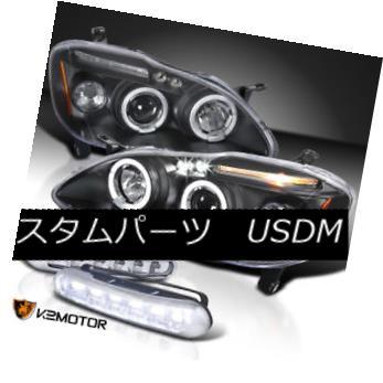 ヘッドライト For 03-08 Toyota Corolla Black Halo Projector Headlights w/ LED DRL Fog Lamp 03-08用トヨタカローラブラックハロープロジェクターヘッドライト(LED DRLフォグランプ付)