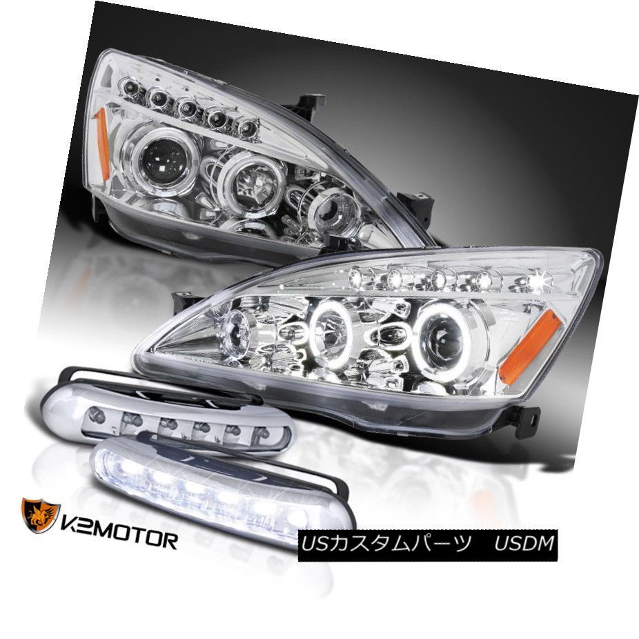ヘッドライト For 03-07 Accord LED Dual Halo Projector Headlights+White LED Daytime Fog Lamps 03-07 Accord LEDデュアル・ハロー・プロジェクター・ヘッドライト+ Whi te LED昼間フォグランプ