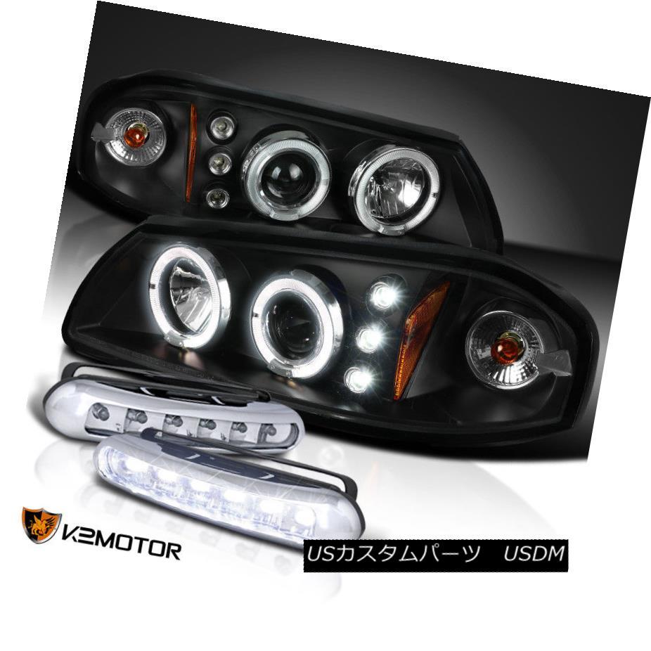 ヘッドライト Chevy 00-05 Impala Projector Halo Headlights+LED Bumper Fog Lamps Black Chevy 00-05インパラプロジェクターハローヘッドライト+ LEDバンパーフォグランプブラック