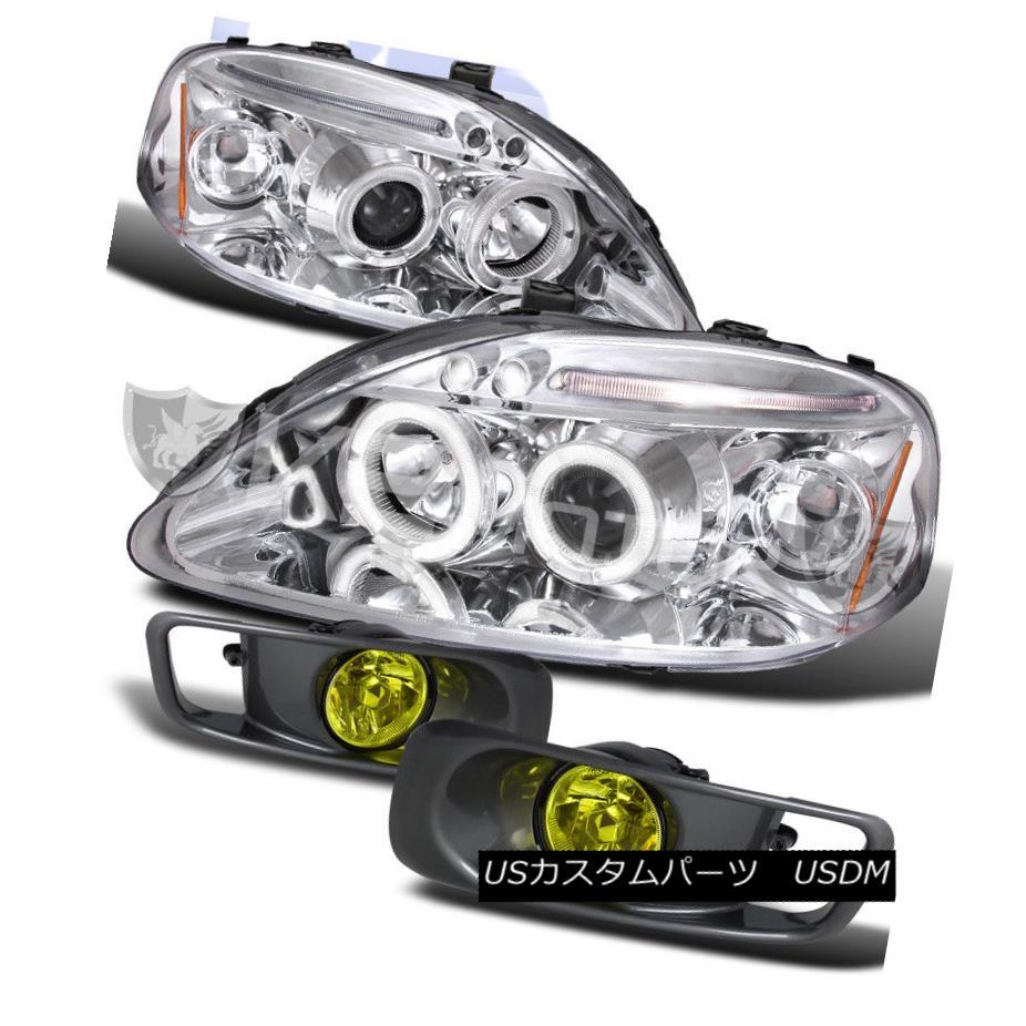 ヘッドライト For 99-00 Honda Civic Chrome Halo Projector Headlights+Yellow Fog Bumper Lamp 99-00ホンダシビッククロームハロープロジェクターヘッドライト+イエロー用 低霧バンパーランプ