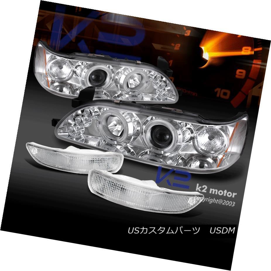 ヘッドライト For 93-97 Corolla LED Halo Projector Chrome Headlights+Bumper Park Lamps 93-97 Corolla LED Haloプロジェクター用Chromeヘッドライト+ Bum パークランプ