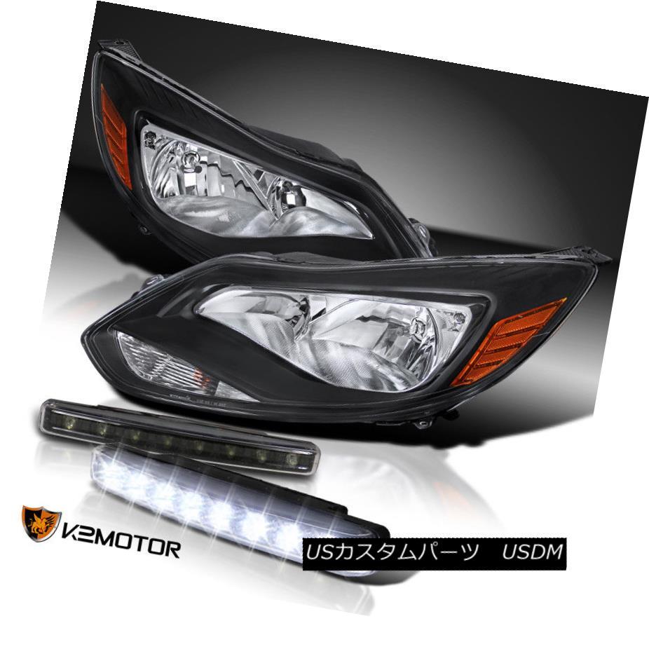 ヘッドライト 12-14 Ford Focus S SE Titanium Black Amber Headlights+Clear 8-LED DRL Fog Lamps 12-14 Ford Focus S SEチタンブラックオレンジ色のヘッドライト+ Cle  ar 8-LED DRLフォグランプ