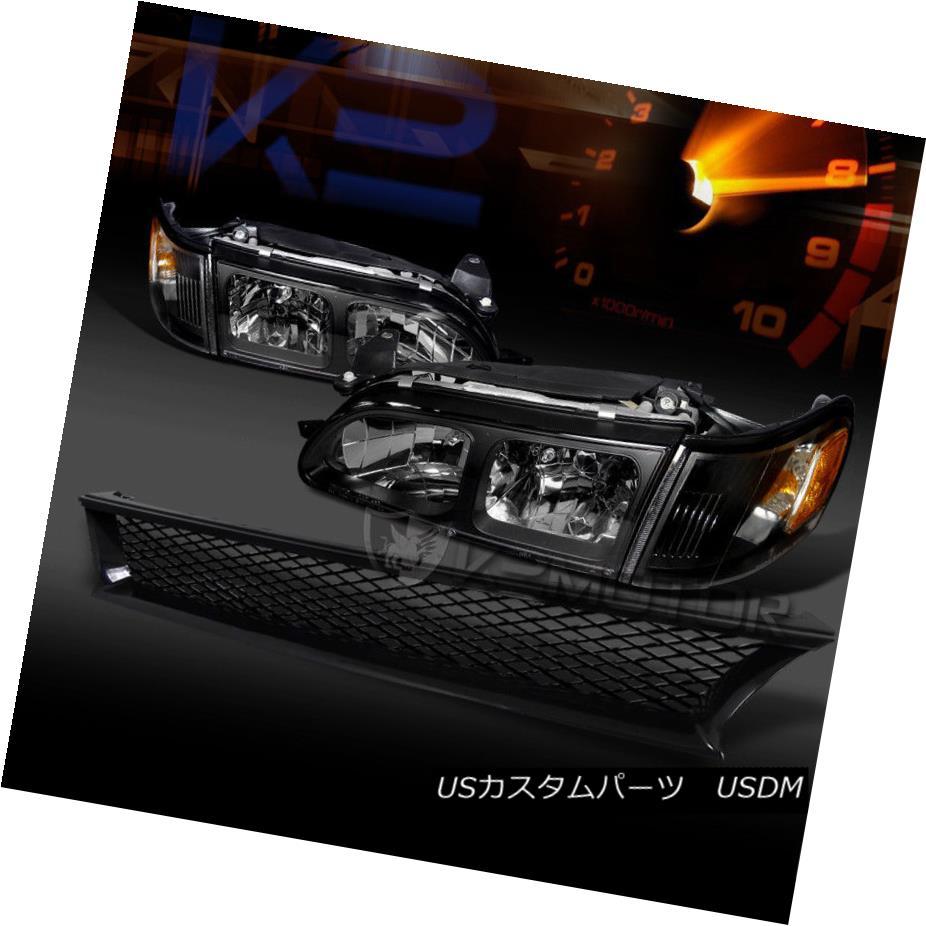ヘッドライト For 1993-1997 Toyota Corolla Black Headlights+Corner Signal Lamps+Hood Grille 1993-1997年トヨタカローラブラックヘッドライト+ Cor  ner Signal Lamps + Hood Grille