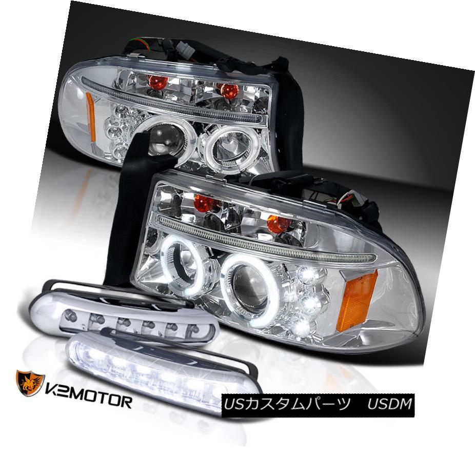 ヘッドライト 97-04 Dakota Chrome Dual Halo Projector Headlights+LED Bumper Fog Lamps 97-04ダコタクロムデュアルハロープロジェクターヘッドライト+ LEDバンパーフォグランプ