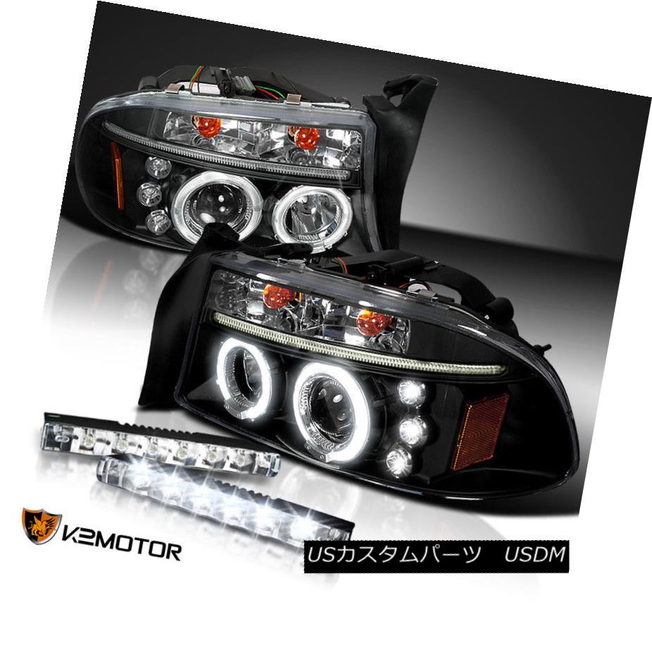 ヘッドライト 97-04 Dakota/Durango LED Halo Projector Headlights Black+6-LED Bumper DRL 97-04 Dakota / Durango LEDハロープロジェクターヘッドライトブラック+ 6 LEDバンパーDRL