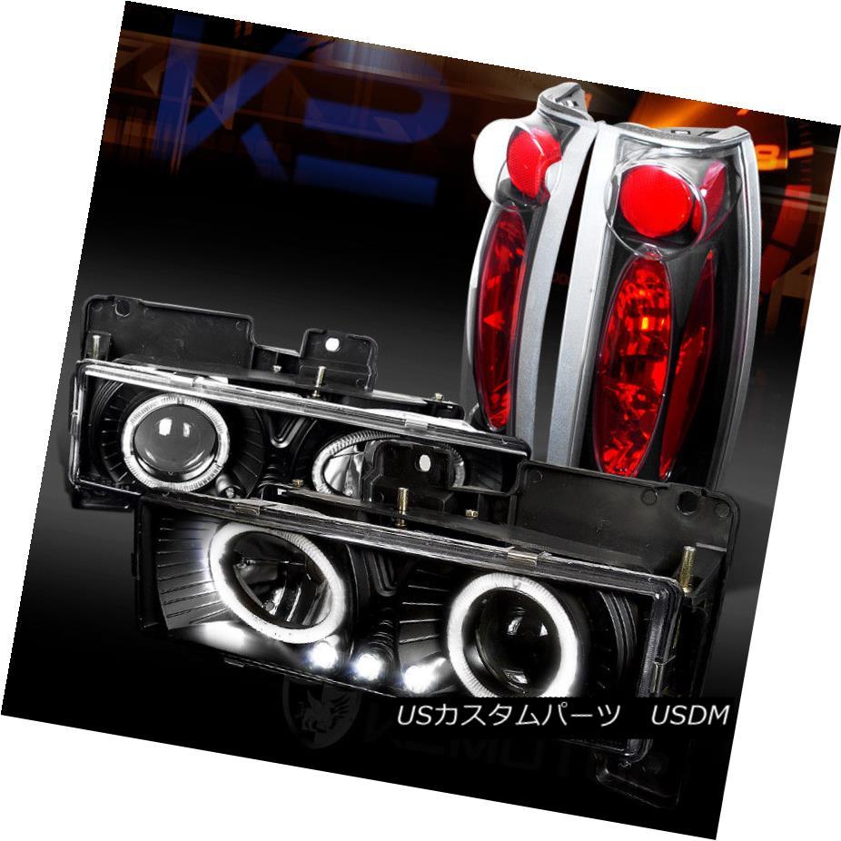 ヘッドライト 88-98 Chevy C/K Pickup Black Halo LED Projector Headlights+Black Tail Lamps 88-98 Chevy C / KピックアップブラックハローLEDプロジェクターヘッドライト+ Bla  ckテールランプ