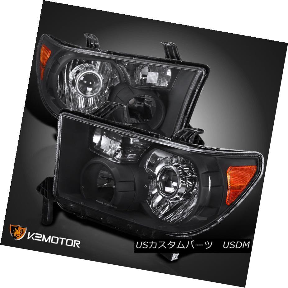 ヘッドライト For 2007-2013 Toyota Tundra 08-14 Sequoia Black Projector Headlights Retro Style 2007-2013トヨタのトンドラ08-14セコイアブラックプロジェクターヘッドライトレトロスタイル