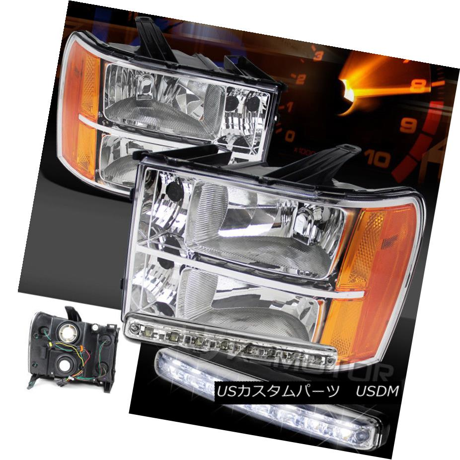ヘッドライト 07-13 GMC Sierra 1500 2500HD 3500HD Chrome Clear Headlights+8-LED DRL Fog Lamps 07-13 GMC Sierra 1500 2500HD 3500HDクロームクリアヘッドライト+ 8-L  ED DRLフォグランプ