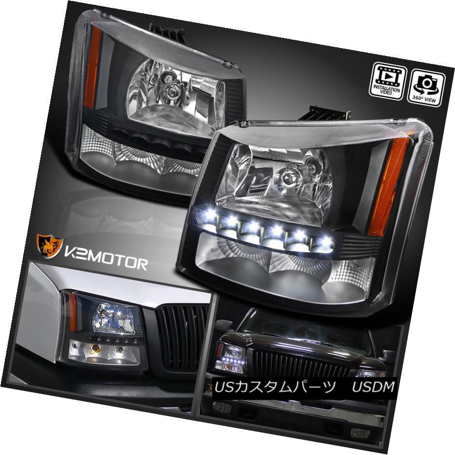 ヘッドライト 2003-2007 Chevy Silverado 1PC Black SMD LED DRL Crystal Headlights+Bumper Lamp 2003-2007シボレーシルバラード1PCブラックSMD LED DRLクリスタルヘッドライト+バーン