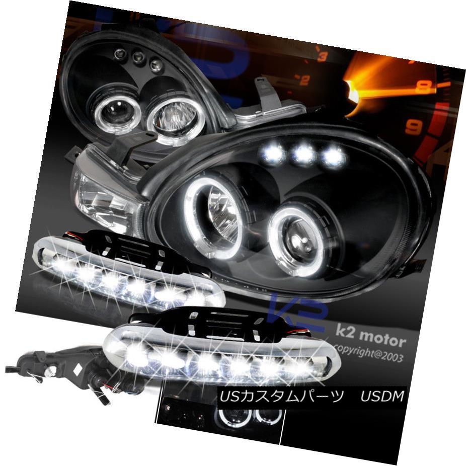 ヘッドライト Dodge 2000-2002 Neon Black Halo Projector Headlights W/ LED DRL Bumper Fog Lamp ドッジ2000-2002ネオンブラックハロープロジェクターヘッドライトW / LED DRLバンパーフォグランプ