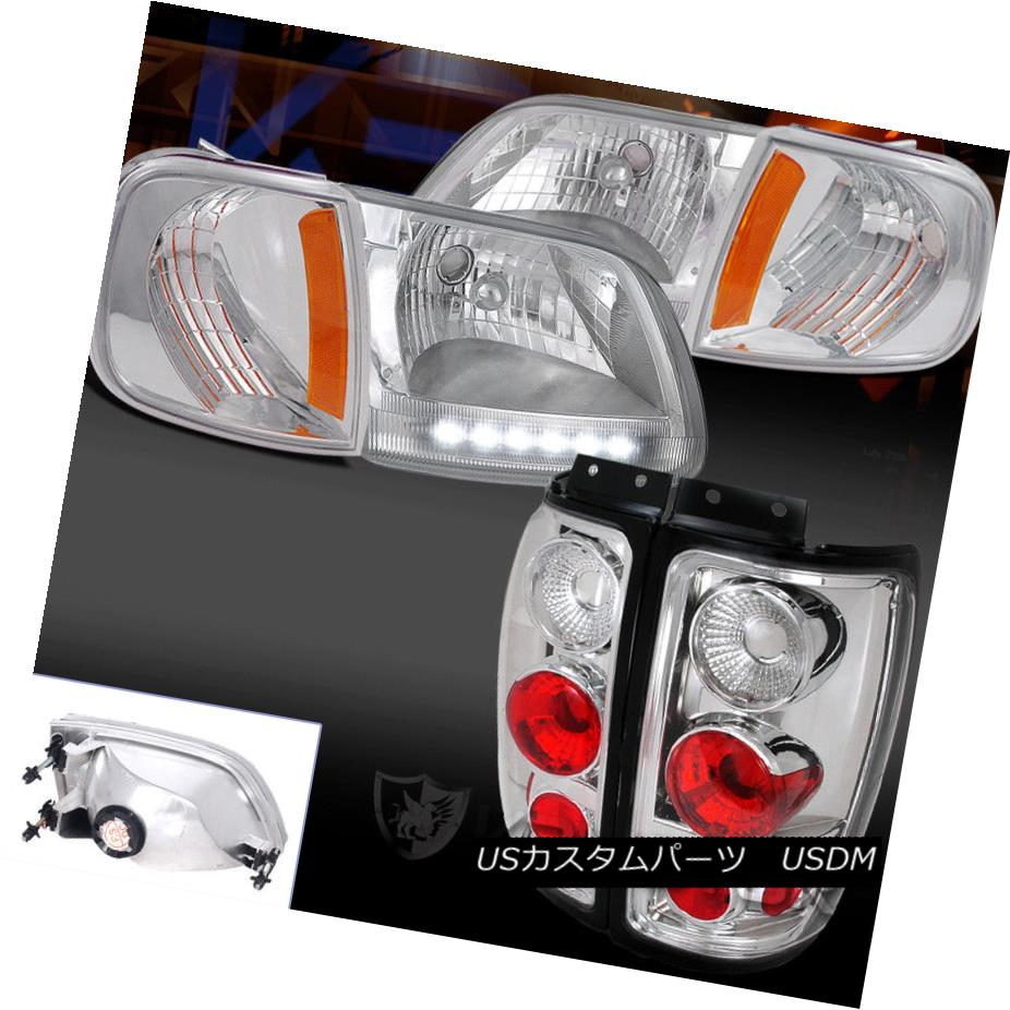 ヘッドライト 97-02 Ford Expedition Chrome LED Headlights+Corner Lamp+Clear Tail Lights 97-02 Ford ExpeditionクロームLEDヘッドライト+ Cor  nerランプ+クリアテールライト