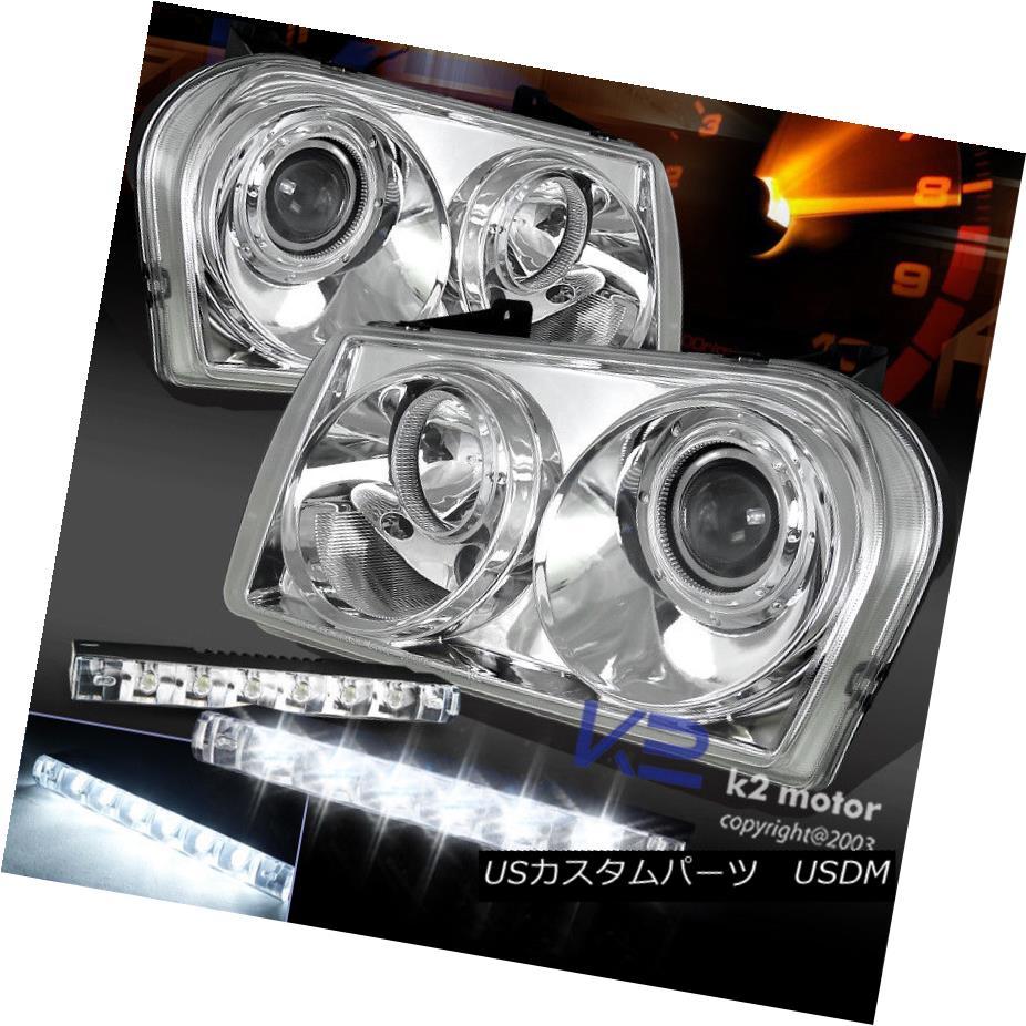 ヘッドライト 05-10 Chrysler 300 Chrome Projector Headlights+Bumper 6-LED Fog Lamp DRL 05-10 Chrysler 300クロームプロジェクターヘッドライト+ Bum  6-LEDフォグランプDRL