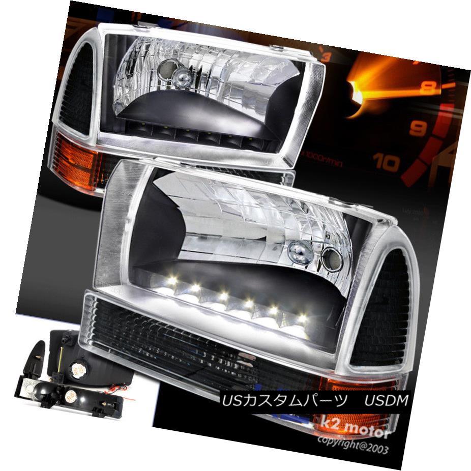 ヘッドライト 99-04 Ford F250 Excursion LED DRL Black Headlights+Corner Signal Bumper Lamps 99-04 Ford F250エクスカーションLED DRLブラックヘッドライト+ Cor  nerシグナルバンパーランプ