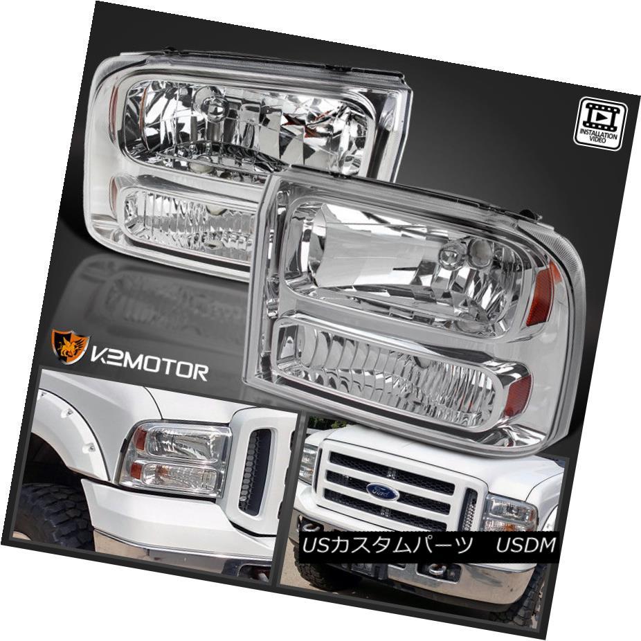 ヘッドライト 1999-2004 Ford F250 F350 SuperDuty 1PC style Chrome Headlight Bumper Lamp 1999-2004 Ford F250 F350 SuperDuty 1PCスタイルクロームヘッドライトバンパーランプ