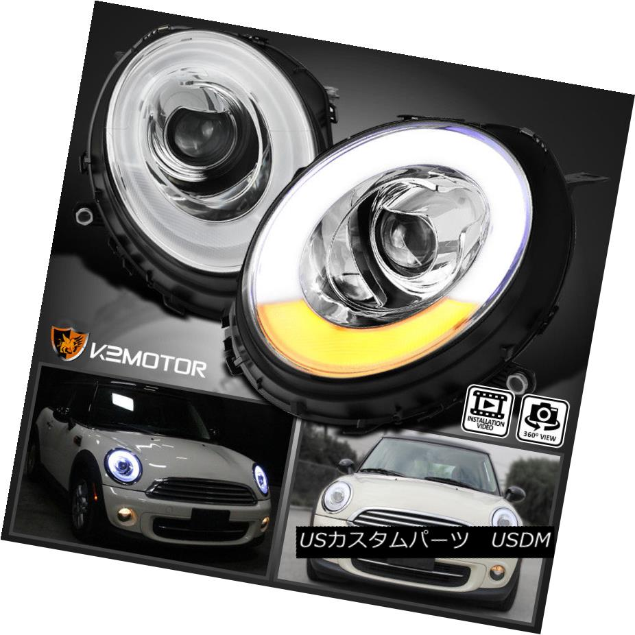 ヘッドライト 2007-2012 Mini Cooper LED DRL Tube Bar Halo Ring Projector Headlights Left+Right 2007-2012ミニクーパーLED DRLチューブバーHalo Ringプロジェクターヘッドライト左+右