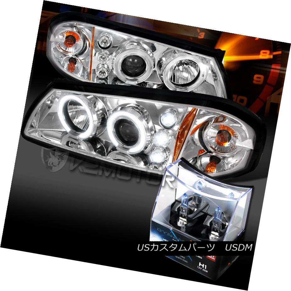 ヘッドライト 00-05 Chevy Impala Chrome Halo LED Projector Headlights+H1 Halogen Bulbs 00-05シボレーインパラクロームハローLEDプロジェクターヘッドライト+ H1ハロゲン電球