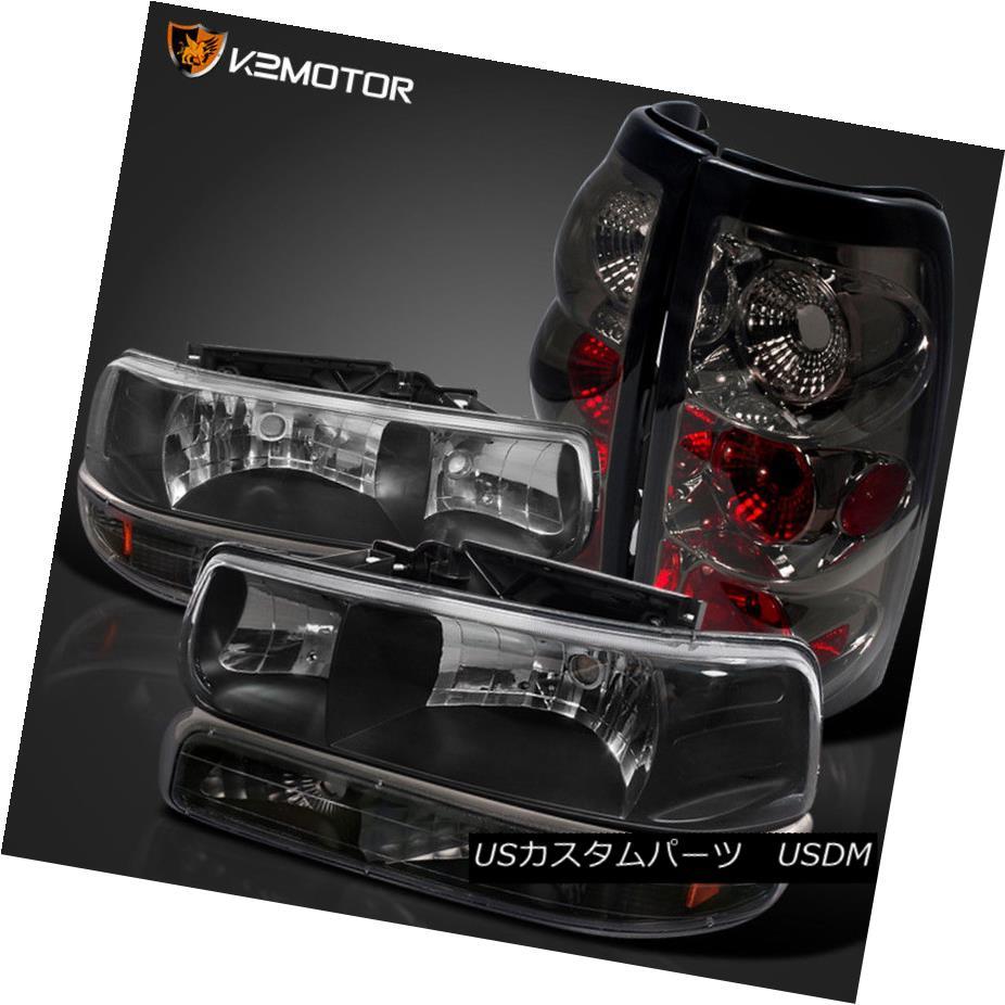 ヘッドライト 99-02 Silverado Fleetside Black Headlights+Black Bumper Lamp+Smoke Tail Lamps 99-02 Silverado Fleetsideブラックヘッドライト+ Bla  ckバンパーランプ+煙テールランプ