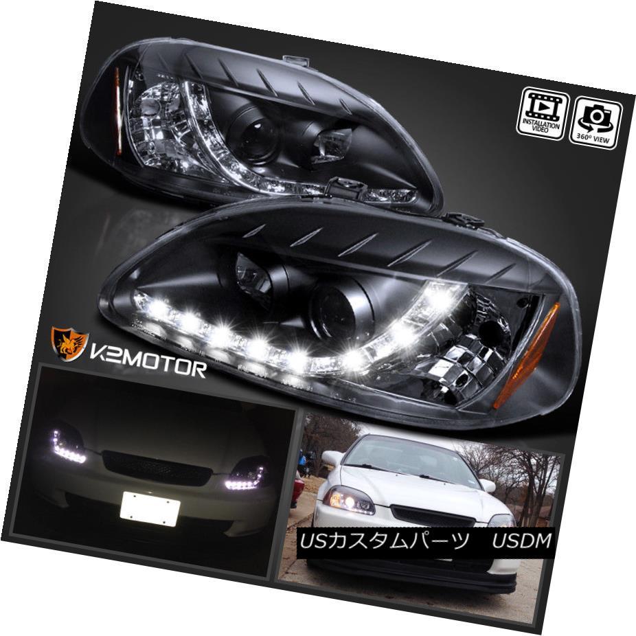 ヘッドライト For 1996-1998 Honda Civic R8 LED Daytime Running Lamp Projector Headlights Black 1996-1998 Honda Civic R8 LEDデイタイムランニングランププロジェクターヘッドライトブラック用
