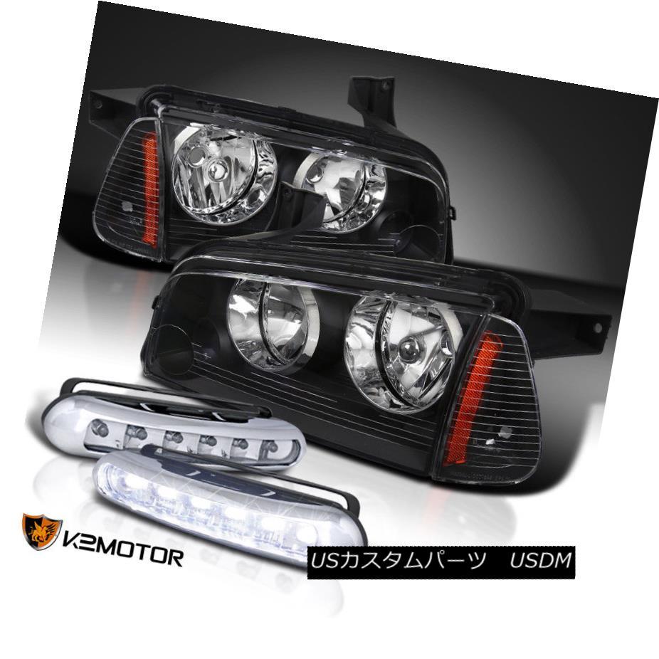 ヘッドライト 2006-2010 Dodge Charger Black Headlights w/Corner Lights+6-LED Fog Driving Lamps 2006-2010 Dodge Chargerブラックヘッドライト、コーナーライト+ 6-LEDフォグ駆動ランプ
