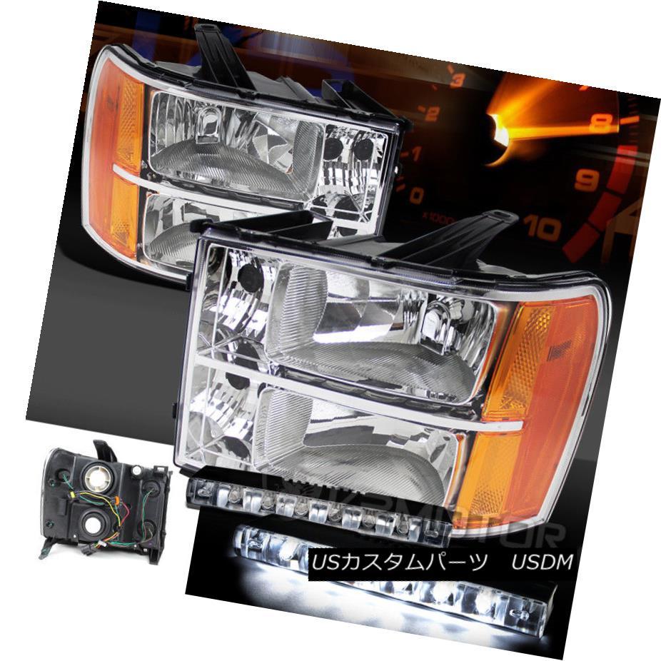 ヘッドライト 07-13 GMC Sierra 1500 2500/3500HD Chrome Clear Headlights+6-LED Bumper DRL Lamp 07-13 GMC Sierra 1500 2500 / 3500HDクロームクリアヘッドライト+ 6-L  EDバンパーDRLランプ