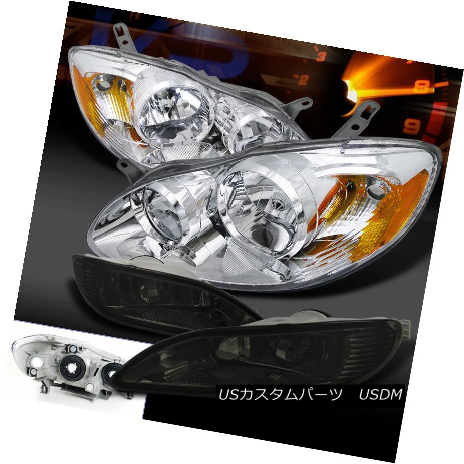 ヘッドライト Fit 05-08 Corolla Crystal Chrome Head Lights+Smoke Fog Lamps+Switch フィット05-08カローラクリスタルクロームヘッドライト+煙霧ランプ+スイッチ