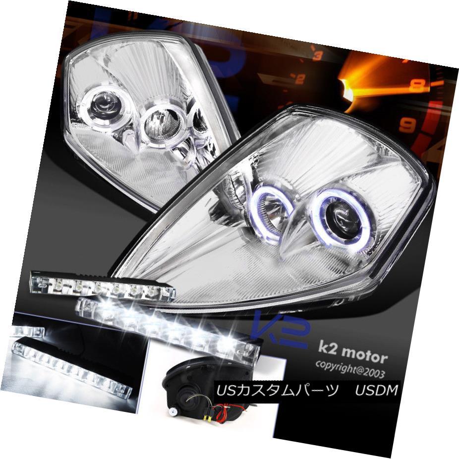 ヘッドライト Chrome 00-05 Eclipse Twin Halo Projector Headlight+6-LED Bumper DRL Fog Lamp Chrome 00-05 Eclipseツインハロープロジェクターヘッドライト+ 6-LE  DバンパーDRLフォグランプ