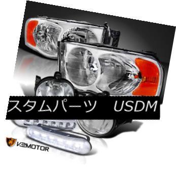 ヘッドライト 02-05 Ram 1500/2500/3500 Chrome Headlight+Clear Bumper Fog Lamp+White LED DRL 02-05 Ram 1500/2500/3500クロームヘッドライト+クリーア rバンパーフォグランプ+白色LED DRL