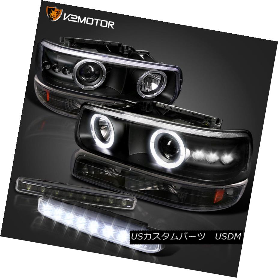 ヘッドライト Black 99-02 Silverado Halo SMD Projector Headlight+Bumper Light+LED DRL Fog Lamp ブラック99-02 Silverado Halo SMDプロジェクターヘッドライト+バンプ er Light + LED DRLフォグランプ