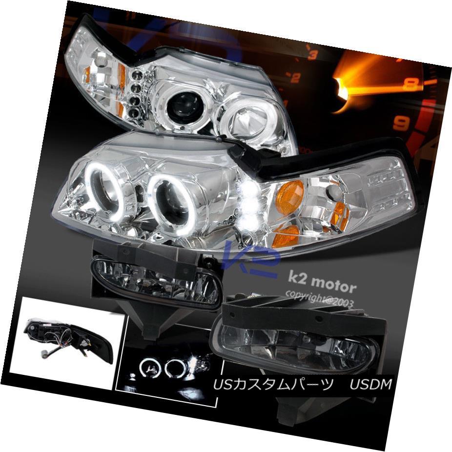 ヘッドライト 99-04 Mustang LED Chrome Halo Projector Headlights+Smoke Bumper Fog Lamps 99-04 Mustang LED Chrome Haloプロジェクターヘッドライト+ Smo  keバンパーフォグランプ