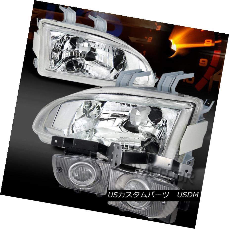 ヘッドライト For 92-95 Civic 4Dr JDM Chrome Crystal Headlights+Clear Fog Lamps 92-95シビック4Dr JDMクロームクリスタルヘッドライト+ Cle  arフォグランプ用