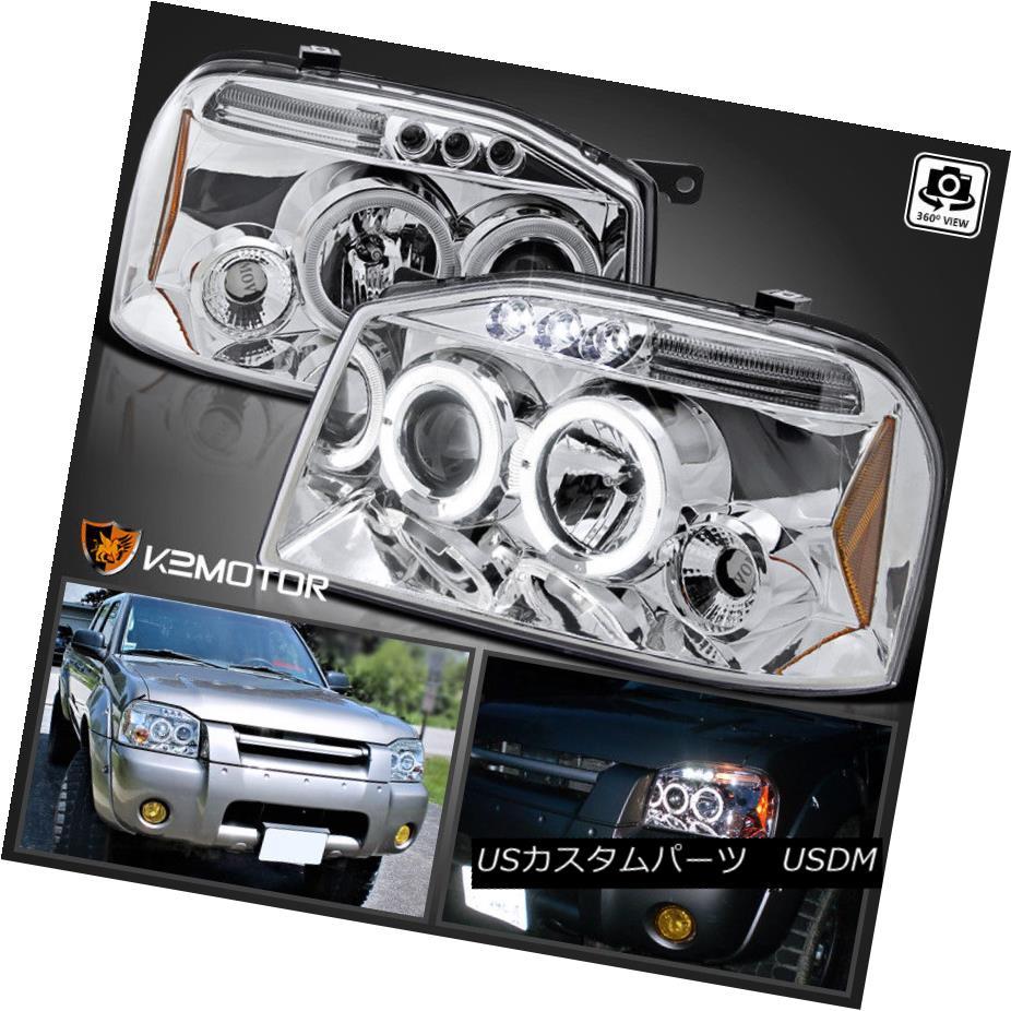 ヘッドライト LED Halo Projector Headlights Chrome Set For 2001-2004 Nissan Frontier LEDハロープロジェクターヘッドライトクローム2001-2004日産日産フロンティア