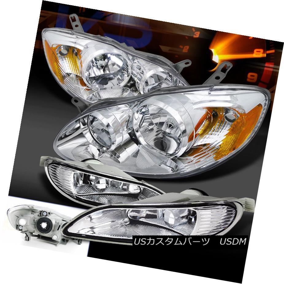 ヘッドライト For 05-08 Corolla Crystal Chrome Head Lights+Clear Fog Lamps+Switch 05-08カローラクリスタルクロームヘッドライト+クリアフォグランプ+スイッチ