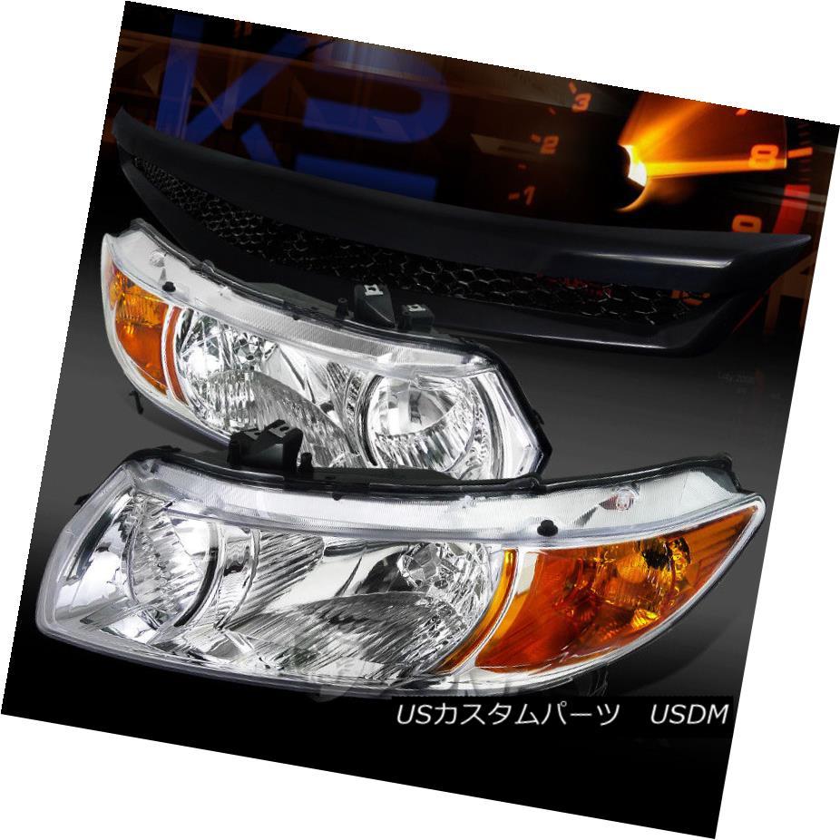 ヘッドライト For 06-11 Honda Civic Coupe 2dr Chrome Headlights+T-R Black Front Hood Grille 06-11ホンダシビッククーペ2drクロームヘッドライト+ T-Rブラックフロントフードグリル