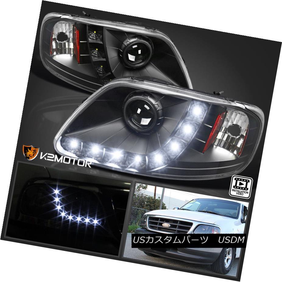 ヘッドライト 1997-2003 Ford F150 Expedition Black LED Strip Projector Headlights Left+Right 1997-2003フォードF150遠征黒色LEDストリッププロジェクターヘッドライト左+右