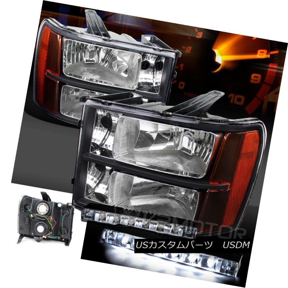 ヘッドライト 07-13 GMC Sierra 1500/2500/3500HD Black Amber Headlights+6-LED Bumper DRL Lamps 07-13 GMC Sierra 1500/2500/3500 HDブラックアンバーヘッドライト+ 6-L  EDバンパーDRLランプ
