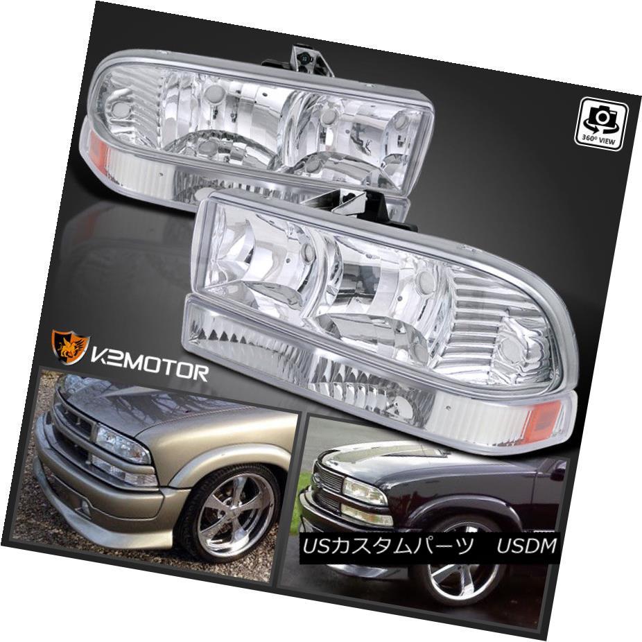 ヘッドライト 1998-2004 Chevy S10 Pickup Blazer Crystal Headlights +Bumper Parking Lamps Light 1998-2004シボレーS10ピックアップブレザークリスタルヘッドライト+バンパーパーキングランプライト